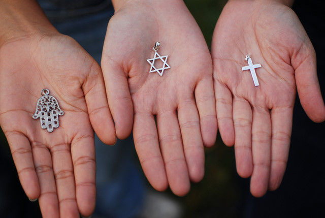Symbols of the Three Monotheistic Religions - Image by Sebastien Dusarmaux/Godong/Corbis