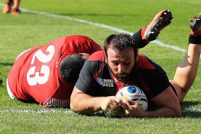 გიორგი თხილაიშვილის ლელო საქართველო-ტონგას თამაშზე. ფოტო: rugbyworldcup.com