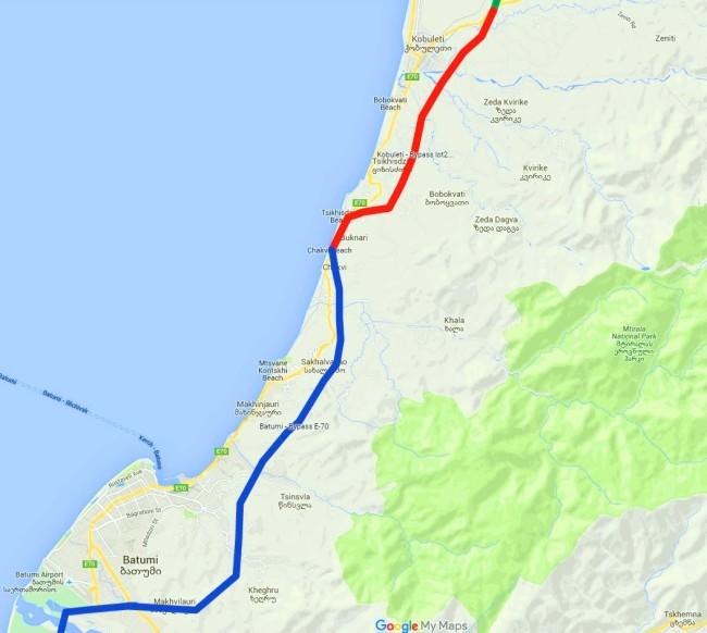 ქობულეთის შემოვლითი გზა[წითელი-მშენებარე] და ბათუმის შემოვლითი გზა [ლურჯი-პროექტი]