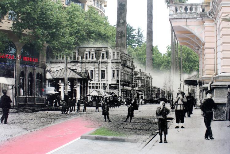 ბაზრის მოედანი 1900 წელი / ლ. ასათიანის ქუჩა, ბათუმის მერიის შენობის მიმდებარე ტერიტორია 2017 წელი