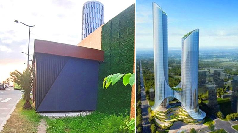 ტროტუარი გადაკეტა კომპანიამ, რომელიც 242 მეტრი სიმაღლის შენობას აშენებს
